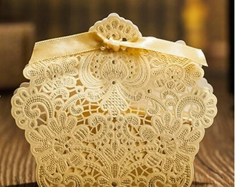 Lace Hollow Favor Box - 25 Pack