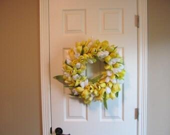 Yellow Tulips Wreath, Tulip Wreath, Yellow and White Tulip Wreath, Yellow and White Wreath, Summer Wreath, Spring Wreath