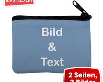 Personalized photo purse with different background colors, text, and photos