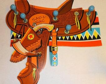 1960s Kids Cowboy Coat Rack. Sad L Rac -by Walt Disney