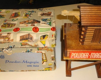 1960s Frontier Play Set Powder Magazine with Hoist