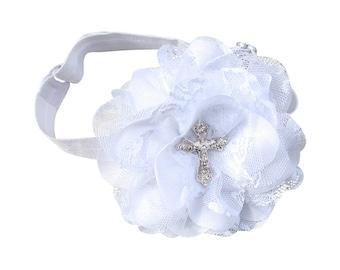White Headband, Baby Cross Headband, Baby Headband, Cross Headband, Infant Headband, Baptism Headband, Headband, Christening Headband, Gift