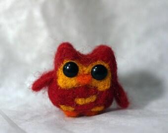 Miniature Needle Felted Owl, Red Owl, Miniature animal, Miniature Owl, Tiny Owl, Red, Needle Felted, ornament