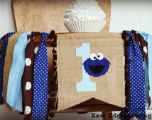 COOKIE MONSTER Birthday High Chair Highchair Banner Party Photo Prop Bunting Backdrop Cake Smash Sesame Street First One Milk And Cookies