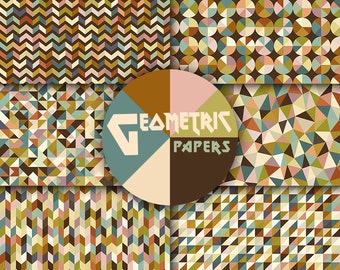 Geometric digital paper retro colors autumn falling background geometrical pattern old brown olive blue vintage pattern colorful commercial