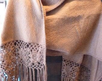 Milk chocolate brown  alpaca wool shawl with decorative fringe