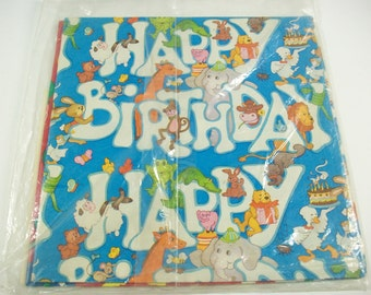 Vintage Birthday Wrapping Paper, Sealed Package of Children's Birthday Themed Gift Wrapping Sheets with Tags, Balloons Animals Gift Paper
