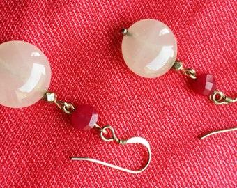 White glass and magenta jade drop earrings