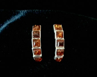 Sterling Silver and Topaz Pierced Stud Earrings
