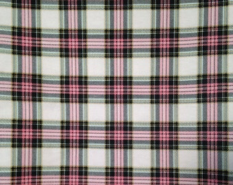 Pink Plaid Cotton Flannel Fabric-By-The-Yard