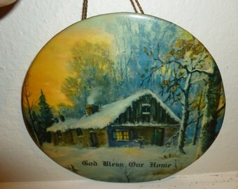 Vintage God Bless Our Home Wall Plaque Featuring A Cabin In The Woods From The 1920's