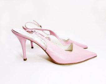 RICHARD TYLER shoes bubblegum pink shoes slingback high heel shoes pink pumps stiletto heels minimalist shoes designer womens shoes 10
