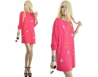 pop art clothing 90s t-shirt dress 80s shirt dress geometric shapes tunic dress embroidered shirt coral pink hipster dress mini cotton tee