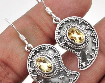 Earrings sterling silver .925 Citrine