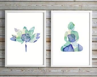 Buddha lotus Art watercolor painting - Art Print - blue green  lotus decor - meditation room painting - Buddhism Zen Art Yoga