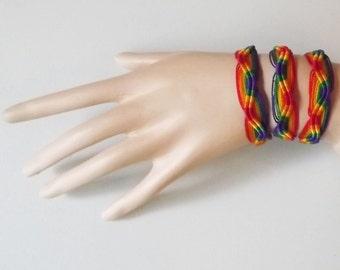 10 Peruvian Rainbow Friendship Bracelets. Zig - Zag Style