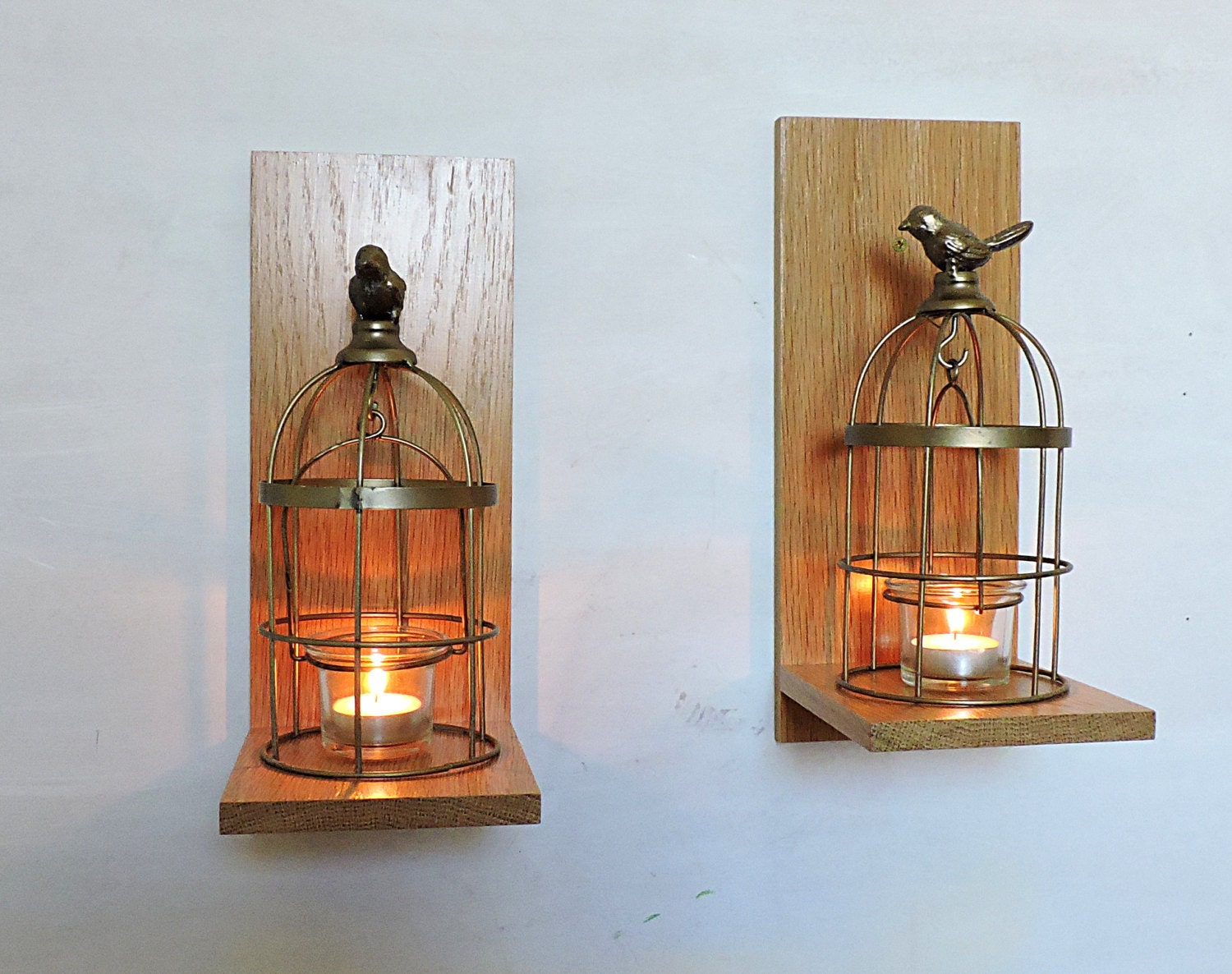 Oak Wall Sconces For Candles : 2 Rustic Wooden Candle Sconcesoak candle holder by MKKwoodenstuff