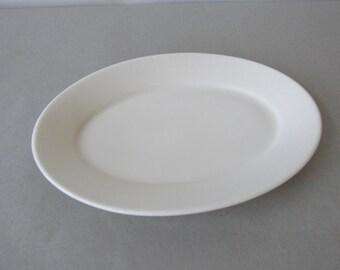 Vintage Homer Laughlin Platter | white ironstone platter, white restaurant ware, oval serving platter | Made in USA