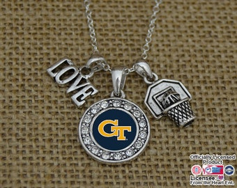 Georgia Tech Yellow Jackets 3 Charm Basketball Necklace