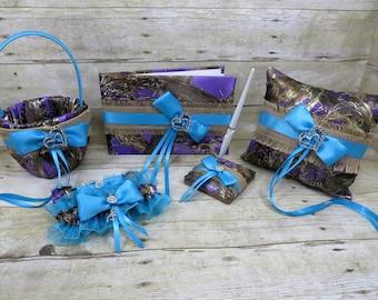 True Timber Purple Wedding Set, Camo and Burlap Wedding Set, Turquoise Wedding Set, Camo Ring Pillow, Camo Flower girl basket, Camo Garter