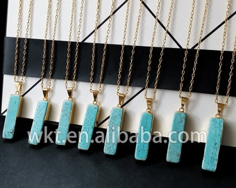 WT-N196 New!! Long rectangle turquoise necklace, Comfortable Vintage boho jewelry
