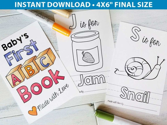 Alphabet Coloring Pages Baby Shower : Abc book baby shower activity alphabet