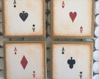 COASTERS!! Set of 4 Aces Playing Cards Coasters! Perfect for Game Room!!
