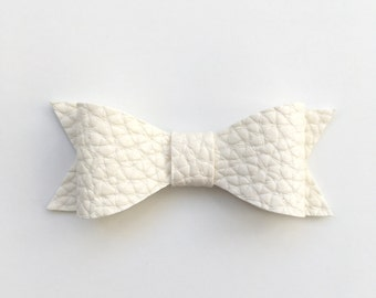 White Faux Leather Bow, White Hair Bow, Faux Leather Bow, White Bow, Hair Bow, Hair Clip