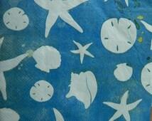 Four Seashells Starfish Dinner Napkins Blue Coastal Brush Theme Decoupage Altered Art Collage Mixed Media