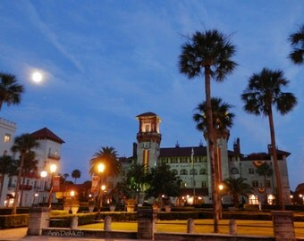 St. Augustine Photography, Lightner Museum, Full Moon Photography, FL, Florida, Ancient City, Fine Art Print, WoodGlassAndPaper, Home Decor