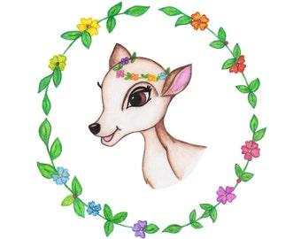 Deer A4 Print (Portrait)