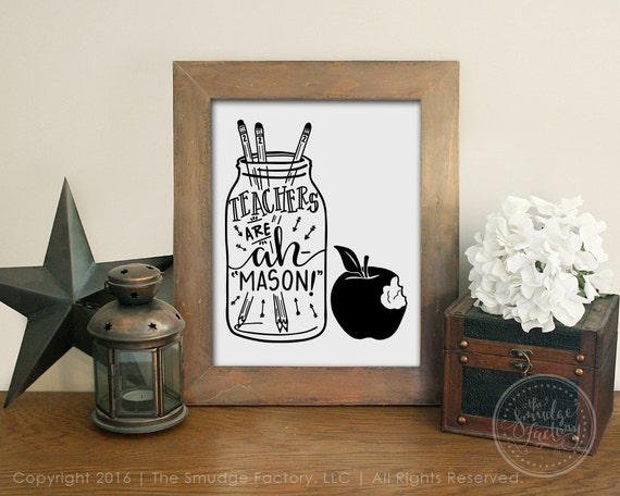 Diy mason jar wall decor : Teacher printable wall art mason jar diy by