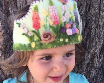Felt Crown , Birthday Crown, Waldorf Crown Spring Garden