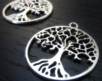 Tree Of Life Pendants - 5/10/20 Wholesale Antiqued Silver Plated Charm Findings C6426