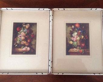 Vintage Pair of Framed Still Life Prints - Mid-Century