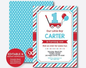 Instant Download, Editable Red Wagon Birthday Invitation, Wagon Invitation, Red Wagon Invitation, Wagon Party Invitation, Boy Invite(SKB.17