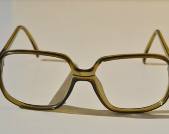 vintage VIENNALINE by OPTYL 1242 20  56-15  transparent olive green almost square eye / sunglasses frame made in Germany New