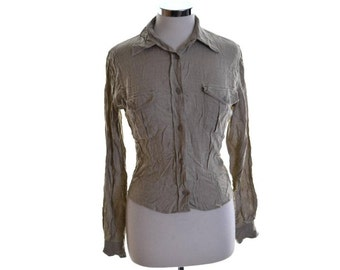 Stefanel Womens Shirt Medium Grey Viscose Polyamide