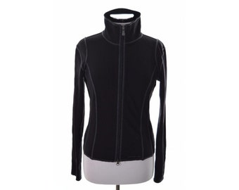 Calvin Klein Womens Tracksuit Top Medium Black Polyamide Polyester