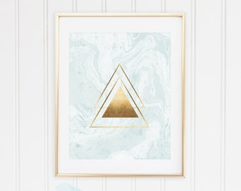 Mint, Marble, Geometric Shapes Triangles, Classic Gold, Rose Gold Foil Wall Art Print, TWO Prints, Printable, Modern Decor, INSTANT DOWNLOAD