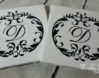 Circle Monogram Coasters Set of 4