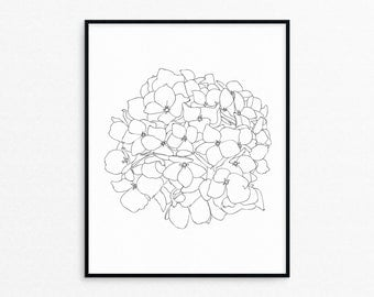Hydrangea Flower Line Art Print/Printable/Wall Decor/Black and White/Floral/Wall Art/Drawing/Botanical/Coloring Page/Adult Coloring/AP53