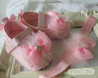 Baby Girls Shoes Reborn Sparkly Shoes, Christening Shoes,Baptism Shoes, Pink Satin Baby Shoes, Baby Shoe and headband Set ,Infant Shoes,