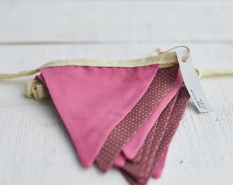 Maroon and Dusky Pink Spotty Bunting - Party Decor - Wedding Decor - Baby Shower Decor - Garden Party Decor - Country Cottage Decor