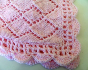 Pink Blanket, Baby Blanket, Pink Knit, Baby Shower, Baby Gift, Pink Baby Blanket, Shower Gift,  Hand Knit, Crocheted Border, Baby Layette