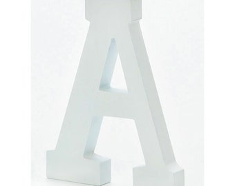 6 inch Free-Standing White Wood Letters