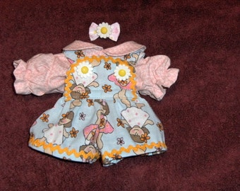 """NEW Cabbage Patch Newborn 11"""" Doll Clothes~3 pc. FLowers & Girls/Dolls Short Bib Overall Pants/Top/Blouse/Shirt"""