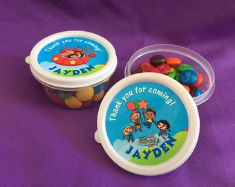 10 Personalized little Einsteins Candy containers / candy cups with lids / party favors