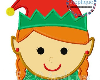 Elf Embroidery Design - Elf Girl Applique - Christmas Applique Design - Christmas Embroidery Design - Girl Elf Embroidery Design