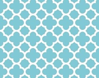 Riley Blake Fabric - Quatrefoil Fabric - Aqua Fabric - Fabric by the Yard - Home Dec Fabric - Fat Quarter - Yardage